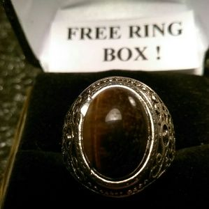 Other - Tibet Silver Ring - Natural Gemstone - Size 8